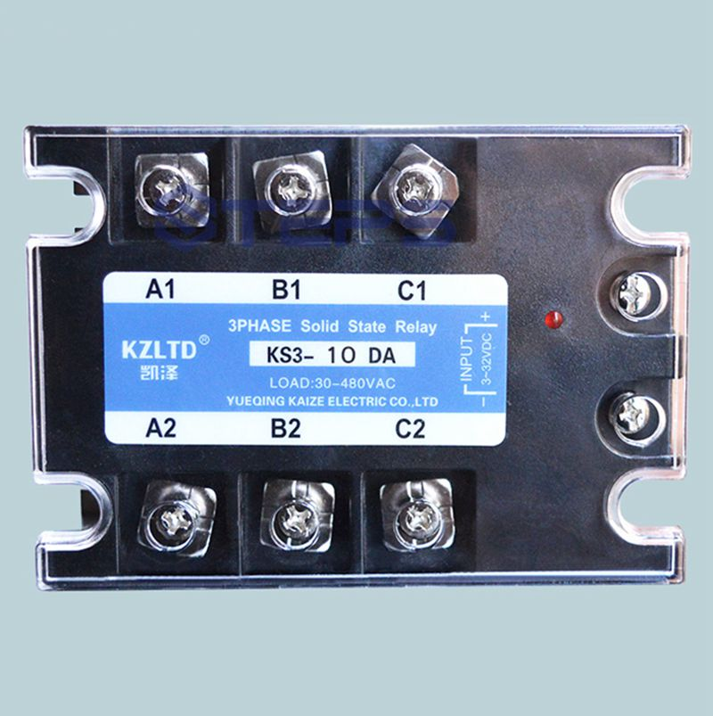 Three-phase solid state relay 10A DC to AC non-contact relay switch 4 20ma to ac 28 280v 25a one phase 35mm din rail socket solid state relay