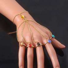 SG New Film Avengers 4 Thanos Bracelets Infinite Power Glove Gauntlet Bangles Gem Stone Pulsera For Women Girls Jewelry Gift