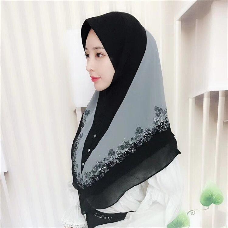 Muslim Hijab Head Scarf Malaysia Flower Printed Chiffon Convenient Head Wear Ready To Wear Instant Female Islamic Warp Shwal