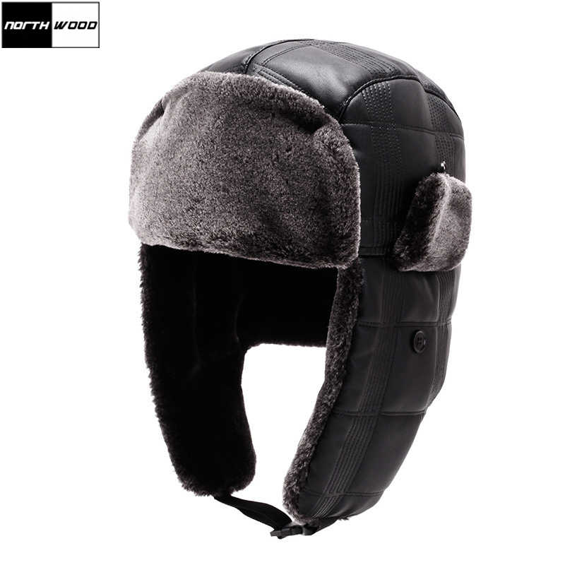 ba6f3c545e2 Detail Feedback Questions about  NORTHWOOD  High Quality Mens Pu Leather  Winter Bomber Hat With Ear Flaps Solid Aviator Hat Men Ushanka Russian on  ...