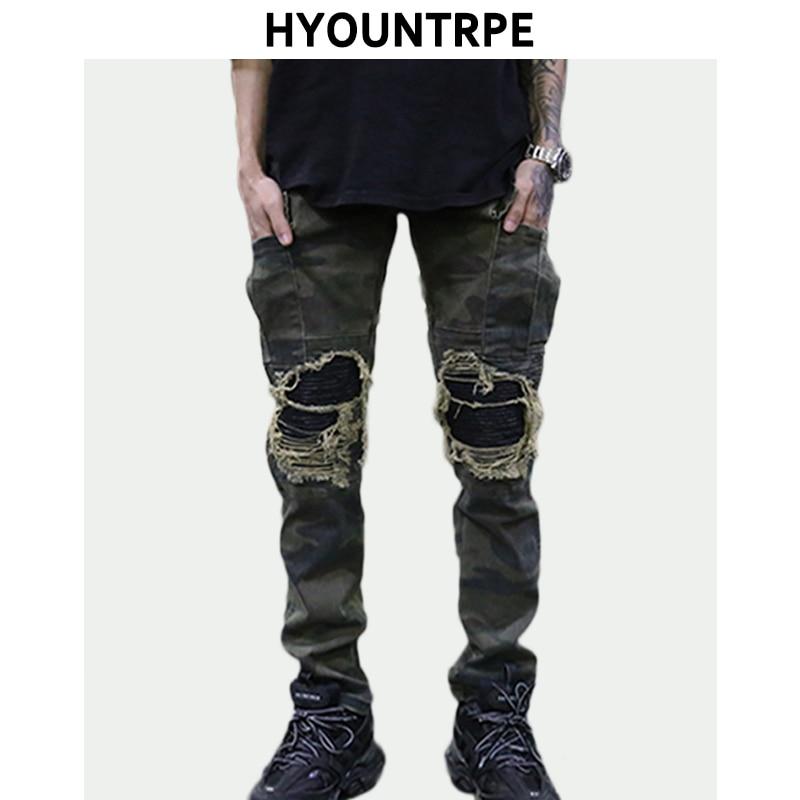 Détruit Trous Du Genou Patchwork Pu Jeans Mens Hip Hop Lavé Camouflage Jean Pantalon Nouveau De Mode Streetwear Biker Pantalon Jogger