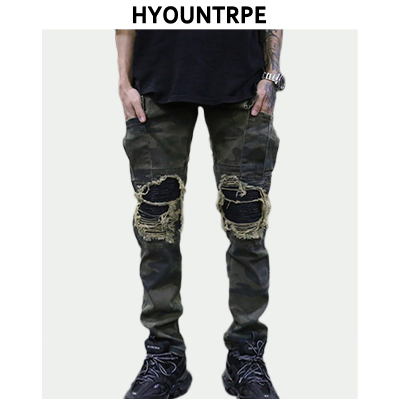 Destroyed Knee Holes Patchwork Pu Jeans Mens Hip Hop Washed Camouflage Jean Trousers New Fashion Streetwear Biker Pants Jogger