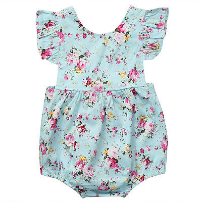 One Piece Cute Baby Girls Rompers Floral Ruffled sleeve Summer Backless Jumpsuit Playsuit Infant Rompers 0-18M