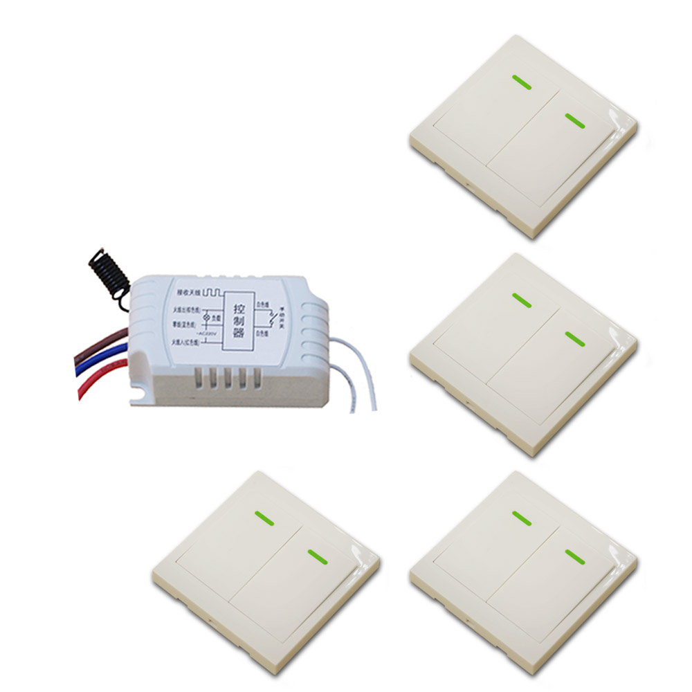 New AC220V 1CH Wireless Remote Control Switch System Receiver & 4*White Wall Panel Sticky Remote High Quality ac 220 v 1ch wireless remote control switch system receiver wall panel remote transmitter sticky remote smart home switch