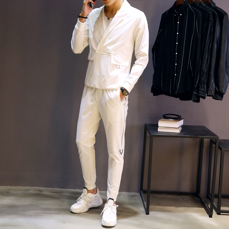 2018 Autumn Men Set Shirt And Pant Casual Slim Fit Two Piece Set Men Moda Hombreblack White Elastic Waist Pant  Pullover Shirt