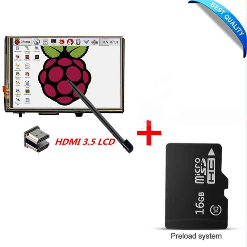 3.5 LCD HDMI USB Touch Screen 1920x1080 LCD Display Audio with 16G micro SD card for Raspberry Pi 3 Pi 2 (Play Game Video) 3 5 inch touch screen tft lcd 320 480 designed for raspberry pi rpi 2
