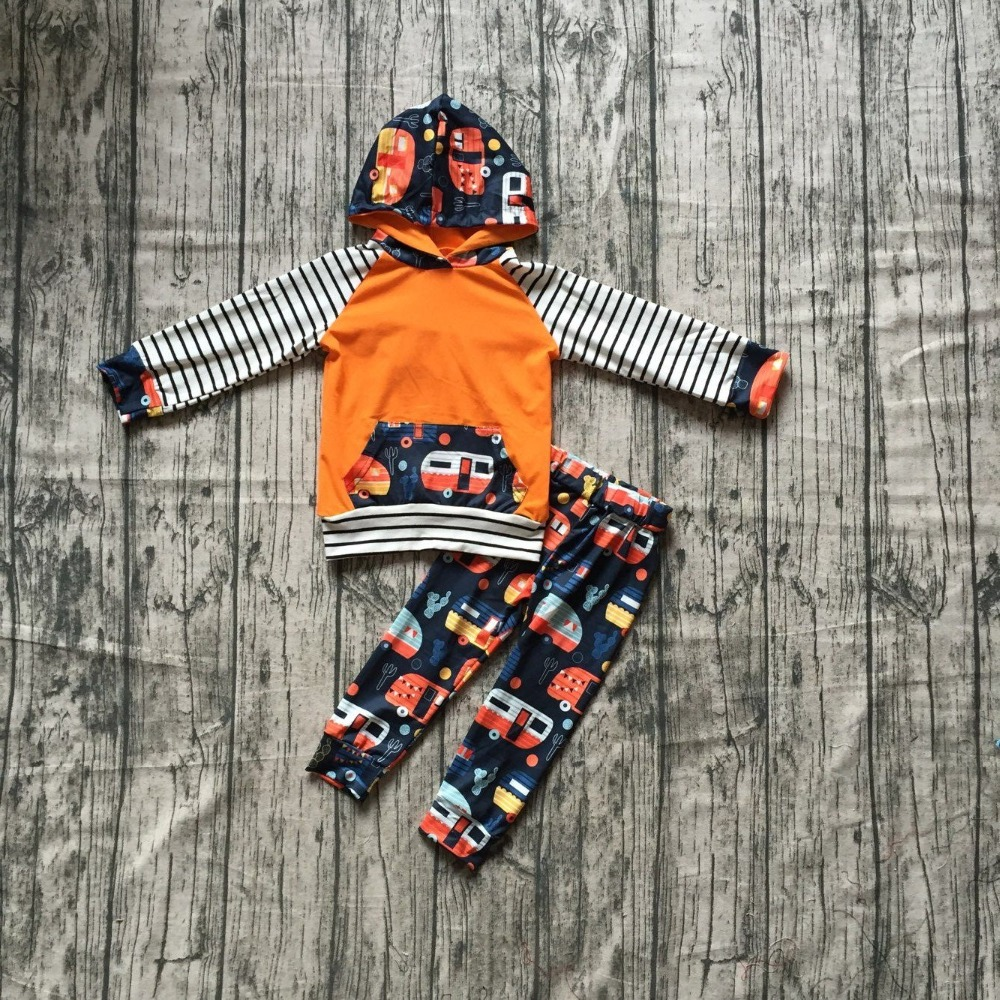 все цены на new arrivals Camper bus hoodie orange striped fall/winter children clothes baby girls outfits ruffles pants boutique kids wear