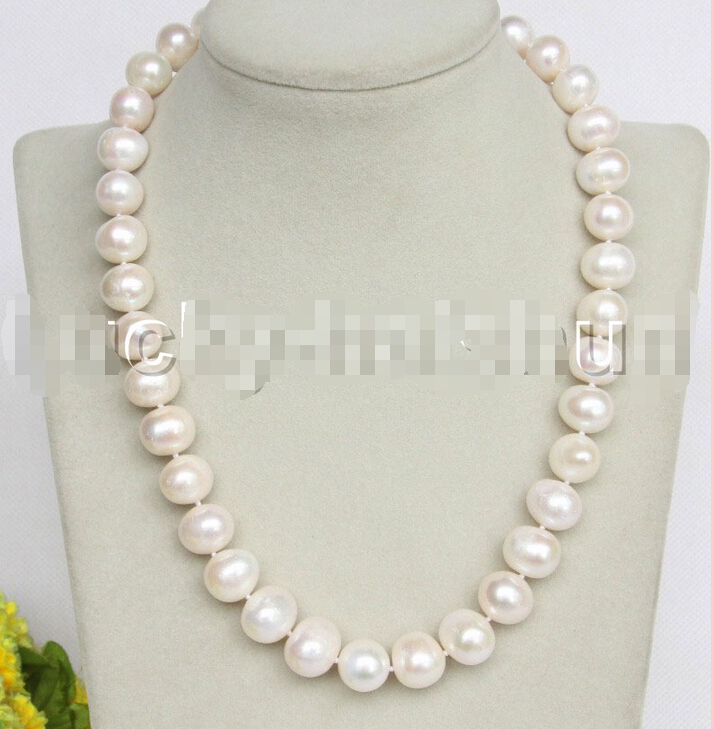 FREE shipping>>> >>>17 luster Natural 14mm white pearls necklace 18KGP clasp j11165 new image