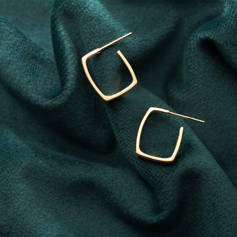 Купить квадратные серьги из серебра 925 пробы винтажные украшения минимализм