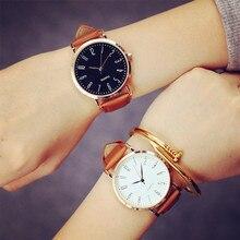 Unisexe Montre De Mode Hommes Femmes Couple Montres En Cuir Quartz Montre-Bracelet Casual Conception Simple Aucun LOGO Dames horloge