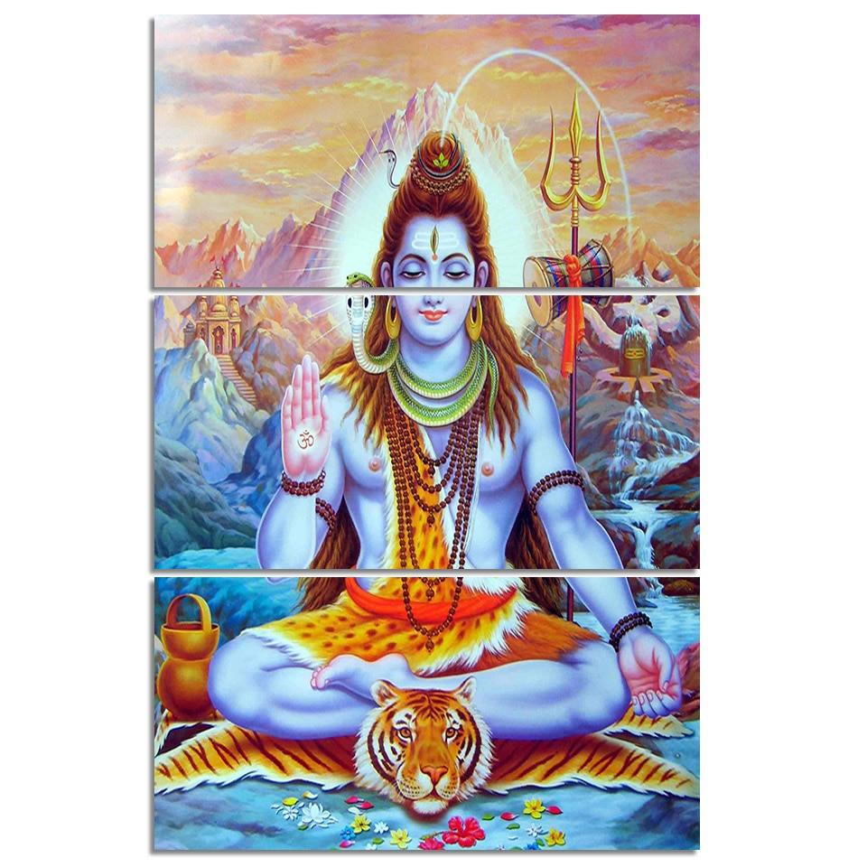 Hindu Poster Art: HD Printed 3 Piece Canvas Art Indian Hindu God Lord