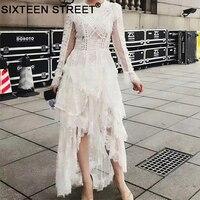 Fashion vintage long dress long sleeve white black lace spaghetti sexy night party maxi vestidos bodycon high quality 2018 New