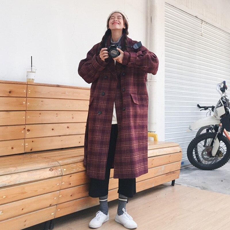 2018 NOUVEAU Manteau D'hiver Coréen Plaid Laine Manteaux D'hiver Femmes Chaud Coton-rembourré Manteau Long de Femmes De Mode Costume veste Survêtement X28