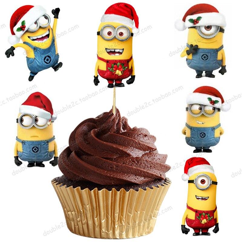 Gateau De Fete De Noel.24 Pcs Lot Gâteau Topper Minions Noël Prend Muffin Gâteau
