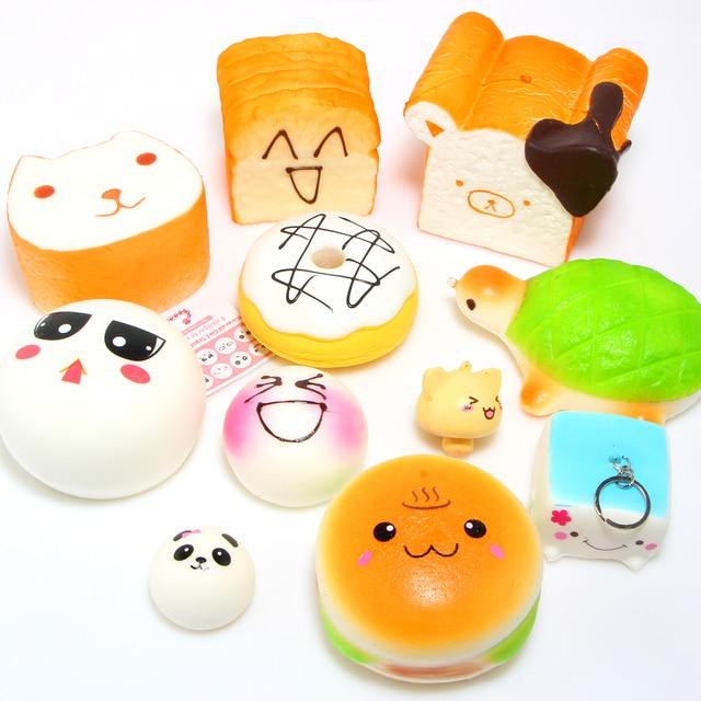 10PCS/LOT Squishy Kit Bread Scented Kapibarasan Toast Tortoise Hamburger Toast Tofu Panda Sweet Roll Phone Straps Kids Gift