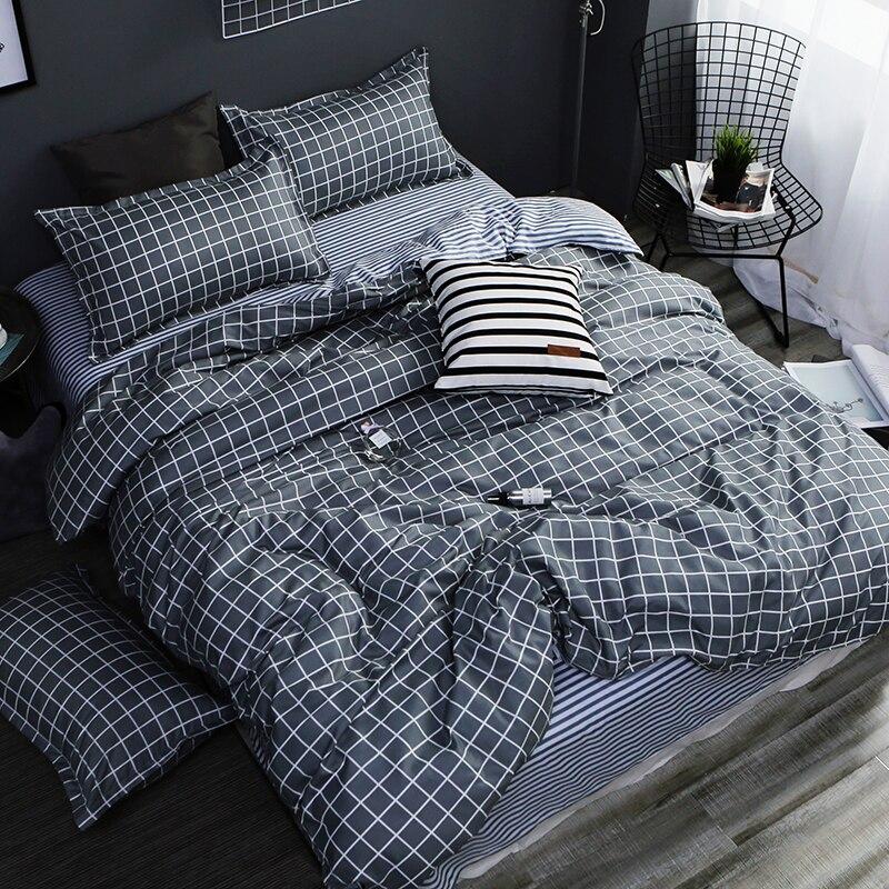 Home textile AB side bedding set grey geometric bedding housse de couett kid bed linen set blue bedclothes duvet cover set sheet