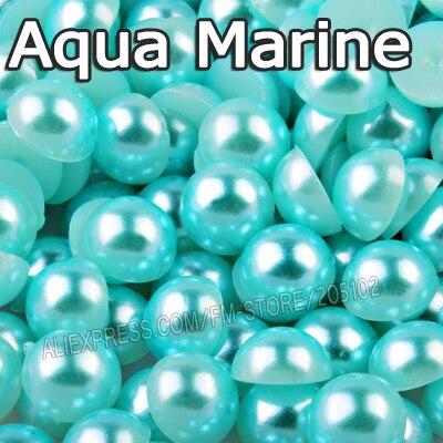 Aqua морской синий половина круглый шарик Mix Размеры 2 мм 3 мм 4 мм 5 мм 6 мм 8 12 мм имитация ABS плоской задней жемчуг для DIY Дизайн ногтей аксессуар