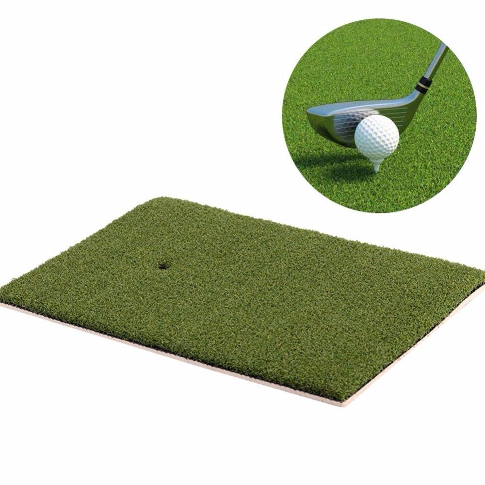 Golf Mat Indoor Backyard Training Hitting Pad Practice Rubber Tee Holder Grass Mat Grassroots Green 25*37*1.5cm