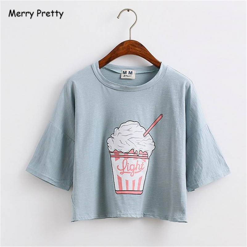 Merry Pretty harajuku kawaii t shirt women summer new ice cream cotton loose t-shirt female crop top tees camisetas mujer
