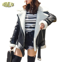 Барашек пальто Для женщин 2018 новые зимние локомотив кожаные пальто Для женщин теплые с длинным рукавом Подлинная кожаные пальто женские пи