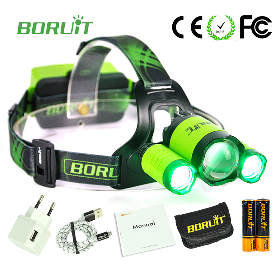 Boruit B22 3 Led Green light headlamp flashlight Lantern on the Head Front LED fishing lamp waterproof rechargeable adventure  цена