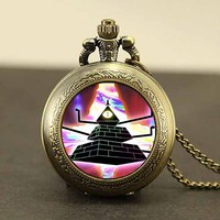 Drama Gravity Falls Mysteries BILL CIPHER WHEEL pocket watch quartz antique Necklace dr who chain 1pcs/lot mens Steampunk bronze