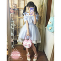 Japanese summer Lolita Sweet strapless collar bow dream gauze dress blue short sleeve Gauze