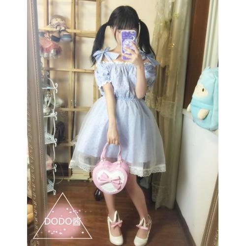 Verano japonés lolita sweet cuello sin tirantes arco sueño gasa dress azul de ma