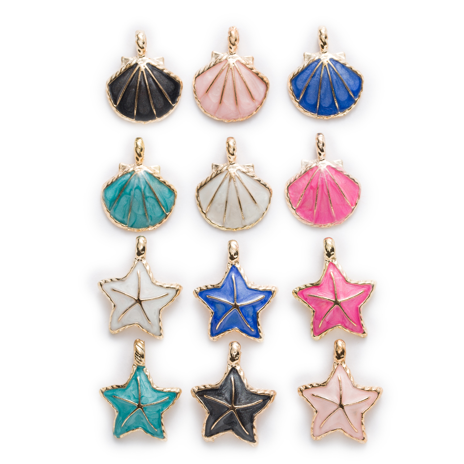 Crystal Starfish Pendants Star Charms DIY Clear Glass Enamel DIY Jewelry Making