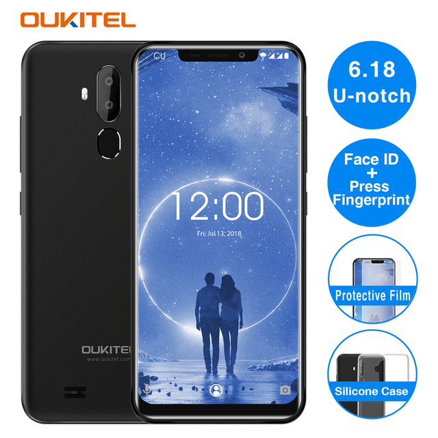 "Oukitel C12 2GB 16GB Face ID Smartphone Android 8.1 MTK6580 Quad Core 6.18""19:9 8MP 5MP 3300mAh OTA Fingerprint Cell Phone"