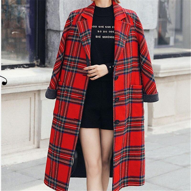 Mode Femmes Manteau Manteaux Coréenne Casual Longue D'hiver Style Rouge Vintage Laine Élégant 2018 Plaid De grxFgwvq