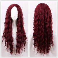Lolita Wig Cosplay Kinky Curly Rose Red Long Wig Synthetic Hair Gothic Role Play Hair