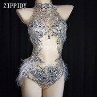 Sparkly Silver Crystals Mesh Bodysuit Feather Leotard Outfit Women Bar Dance Stage Party Dance Costume Celebrate Dress