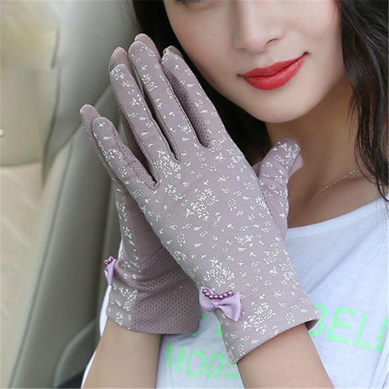 Driving Sunscreen Gloves Ms. Thin Style Summer Short Elastic Spring Autumn Pure Cotton Anti-UV Woman Gloves Anti-Slip FS02