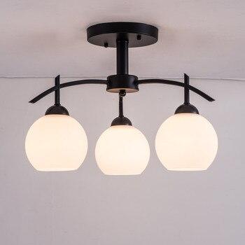 Führte Moderne Decken Kronleuchter Für Wohnzimmer Schlafzimmer Küche Decor Hause Beleuchtung Eisen Weiß Glas Lampenschirm Glanz 110-220V