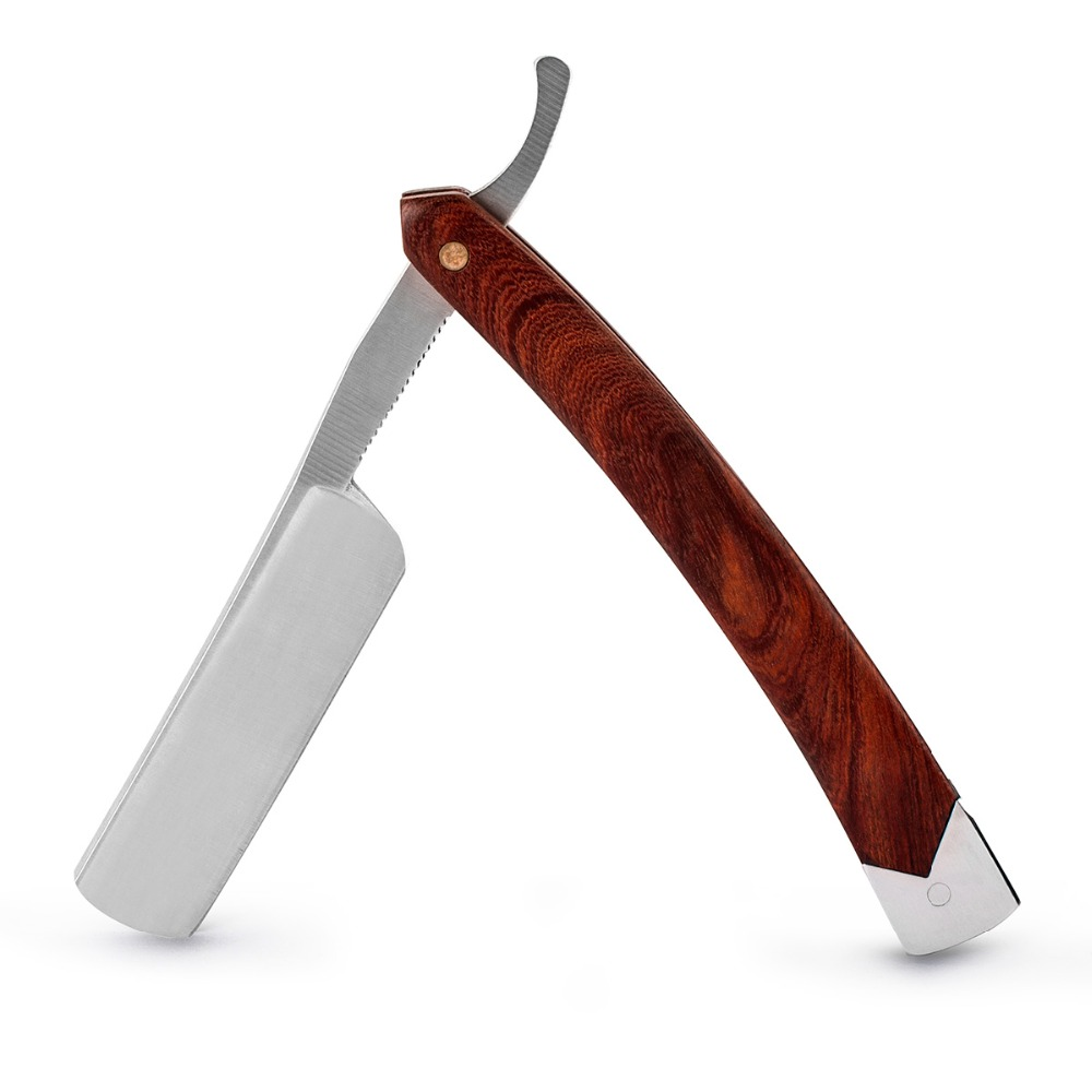 QSHAVE Classic Hand Made Straight Razor Wood Handle Safety Barber Straight Razor