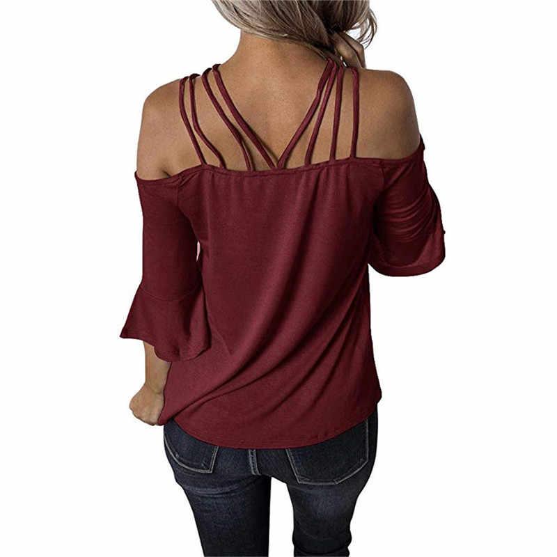 Womens tops en blouses vrouwen shirt sling Schouder off top Vrouwen Elegante blouse blusas mujer de moda 2019 zomer kleding