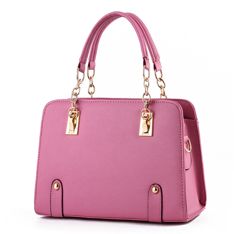 Fashion PU Women Handbag Metal Chain Shoulder Bag Coral Pink Tote Clutch Crossbody Messenger Zipper  2016 fashion mini laser metal chain letters pu leather clutch purse wallet chain messenger bag shoulder bag handbag 6 colors