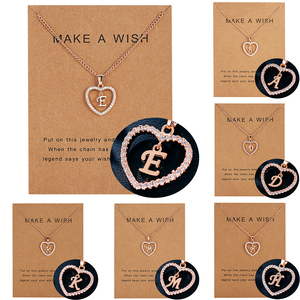 Elegant Crystal Rhinestone 26 Letter Necklaces Rosegold Color Heart Pendant Women Girls Fashion DIY Birthday Party Jewelry Gifts