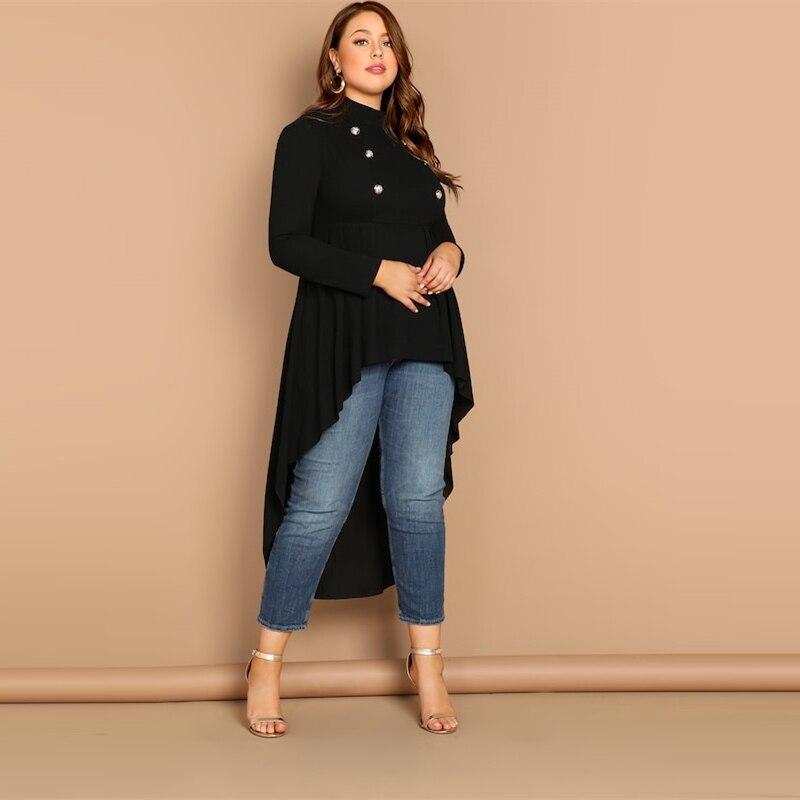 Vestido Talla Plus Royal de capa larga negro con botones Paraíso de la Moda | PdM