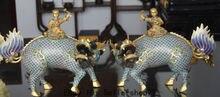 15″ Marked China 100% Cloisonne Enamel 24K Gold Boy Ride kylin Lion Pair Statue Marked Enamel Decoration 100% Brass Bronze
