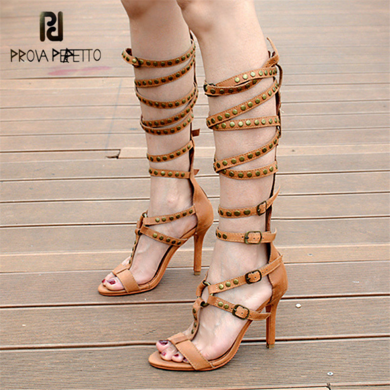 Prova Perfetto Sexy Women Gladiator Sandals Buckle Straps High Heel Shoes Woman Hollow Out Summer Boots T-strap Sandalias Mujer  hot selling denim blue ankle strap buckle high heel sandals cut out thick heel gladiator sandals for women summer dress shoes