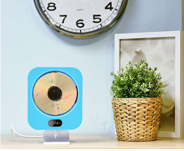 ECHFLIE CD Player Home Clock Radio Home with Wall Mounted Hifi CD