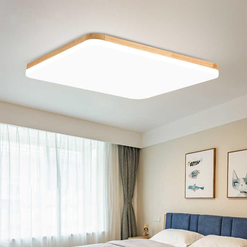 Деревянный светодиодный потолочный светильник для гостиной спальни Ультратонкий 5 см потолочный светильник современный потолочный светильник круглый и квадратный