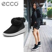 ECCO/2018 Зимние ботильоны на меху, зимние ботинки для отдыха, женские бархатные теплые Нескользящие повседневные ботинки