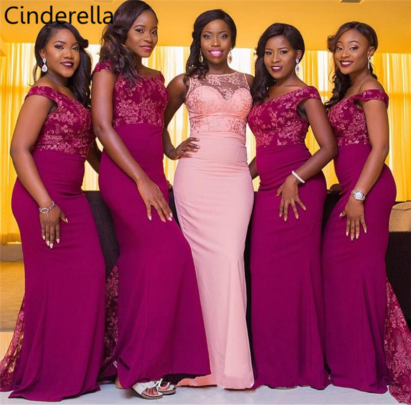 Cinderella V-Neck Off The Shoulder Sweep Train Lace Satin Mermaid Bridesmaid Dresses Lace Wedding Party Bridesmaid Dresses
