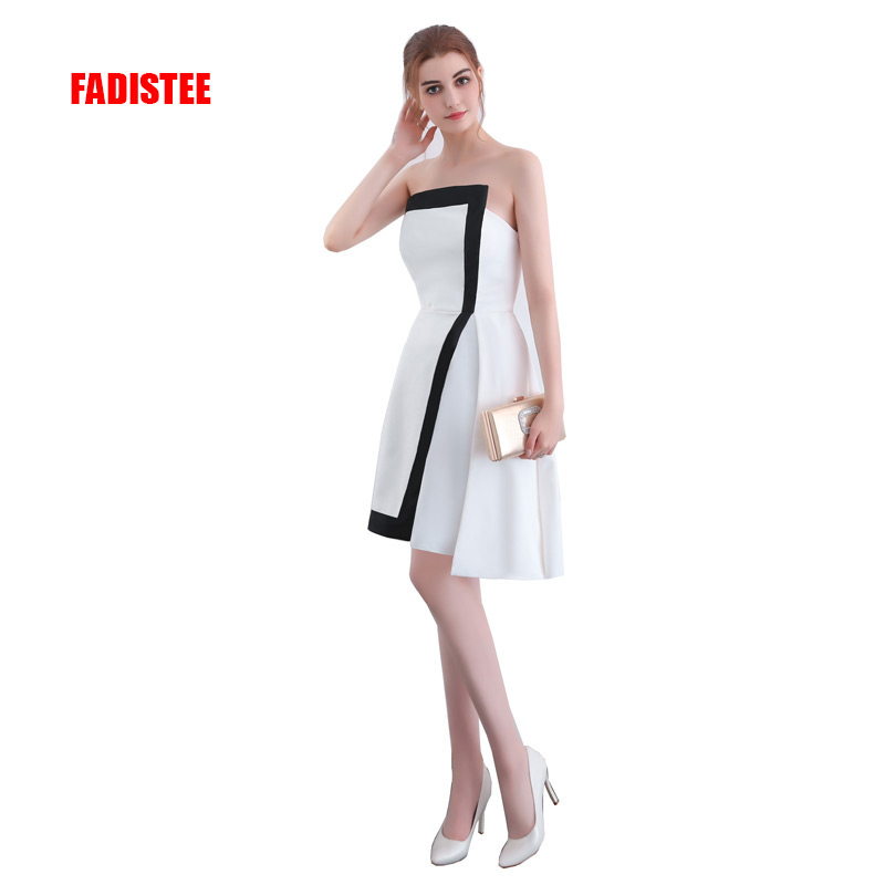 FADISTEE New arrival strapless   cocktail   party   Dresses   short Vestido de Festa mini sexy satin simple Zipper style   dress