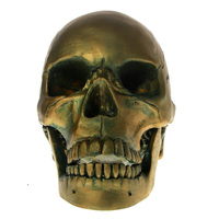 1Piece Antique Skeleton Head Sculpture Halloween Horror Decoraiton 1:1 Life Size Bronze Skull Head With Movable Jaw