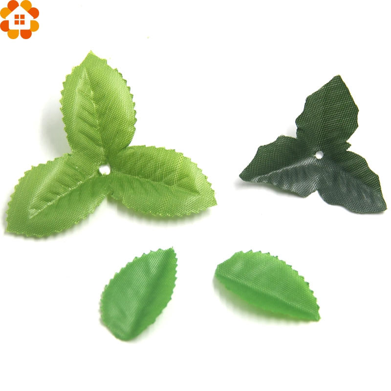 50pcs lot green artificial leaf diy silk flower leaves for Artificial leaves for decoration