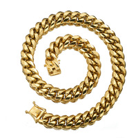 Fashion New Miami Cuban Curb Link Chain 18mm Width Stainless Steel Gold Tone Necklace Or Bracelet Bangle Dragon Lock Clasp 7 40